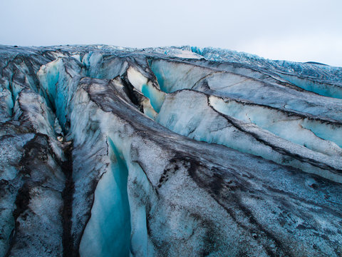 Detailed view of glacier structure