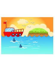 sea scape  sailing boat with sunset