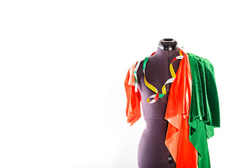 Mannequin with fabric and ribbon