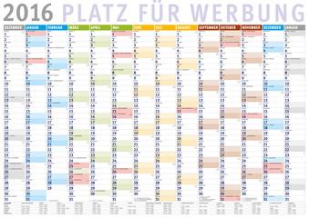 Kalender 2016 (Dezember 2015 bis Januar 2017) mit Ferien