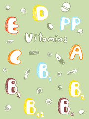 Vitamins and pills in the sketch style, colors