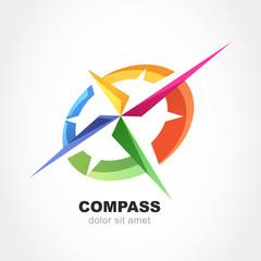 Abstract multicolor compass symbol. Vector logo design template.