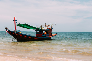 Squid fishing boats at the beach
