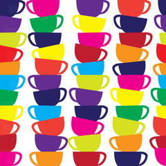 Abstract seamless vector background with cups.