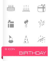 Vector black birthday icon set