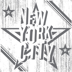 New York City grunge typography poster, t-shirt design, vector
