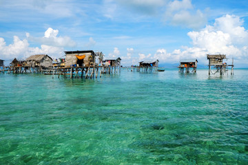 A villagers of sea gypsies in Semporna Island, Sabah.