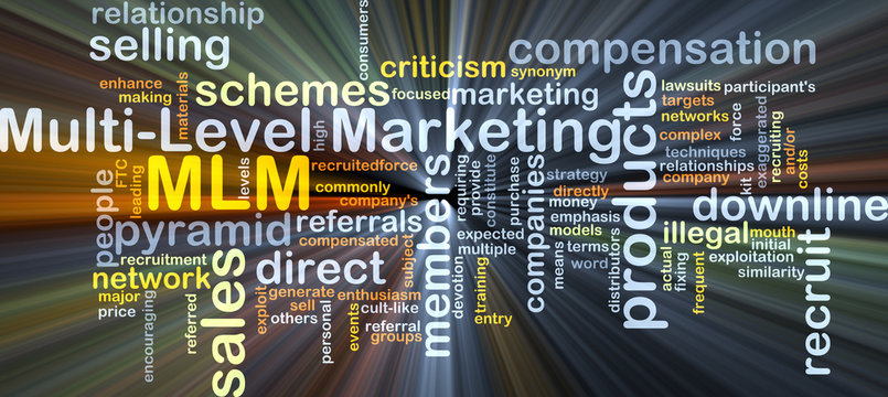 Multi-level marketing MLM background concept glowing