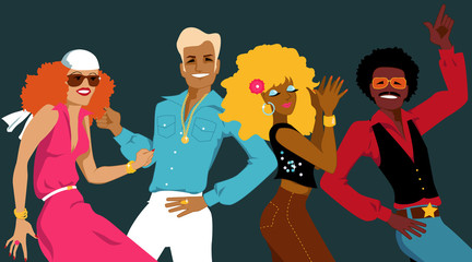 Wall Mural - Group of young people dressed in 1970s fashion dancing disco