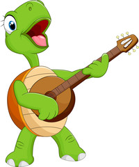 Cartoon turtle playing guitar