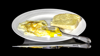 Morning food on a white plate ready to eat