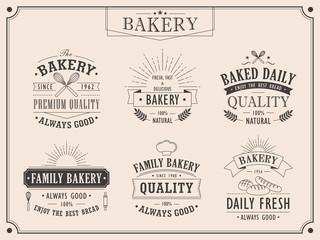 set of elegant bakery vintage emblems