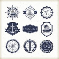 set of vintage marine emblems