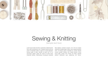 sewing and knitting on white background