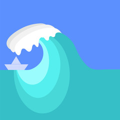 Big Sea Wave and Paper Ship