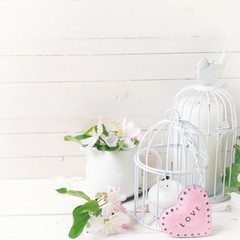 Background  with apple blossom, candles, decorative heart