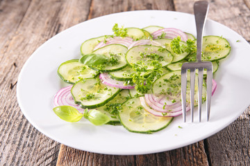 cucumber salad with onion and cooking oil