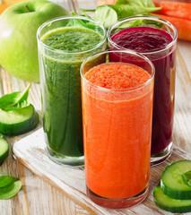 Glasses with fresh vegetable juices . Detox diet