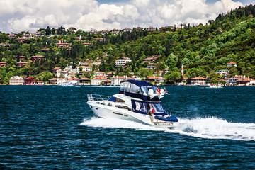 Motor boat and sea front, Bosphorus, Istanbul, Turkey
