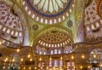 Internal view of Blue Mosque, Sultanahmet, Istanbul, Turkey