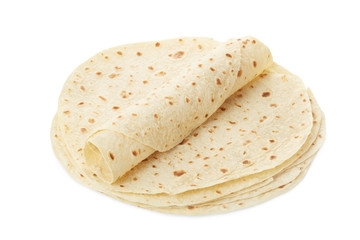 Piadina, tortilla and wrap isolated on white, clipping path