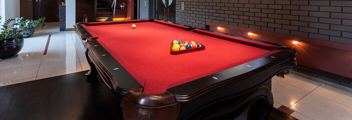 Red pool table