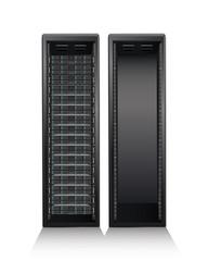 Server tower on white background