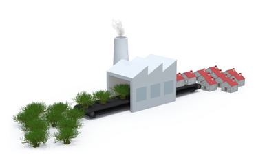 factory that transforms trees into houses