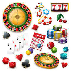 Casino symbols set composition poster