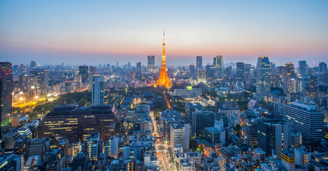 Photo sur Aluminium Tokyo Tokyo Tower and Tokyo city nice view at sunset time