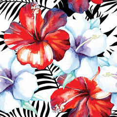 hibiscus watercolor pattern,graphic palm background