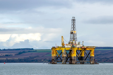 Oil Rig Anchored off the Coast of Scotland