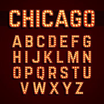Broadway lights style light bulb alphabet