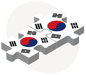South Korea and South Korea Flags in puzzle