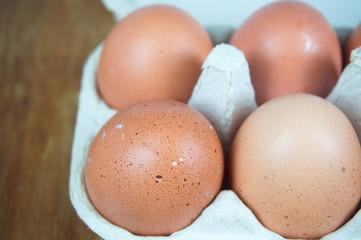 Fresh chicken eggs in carton package