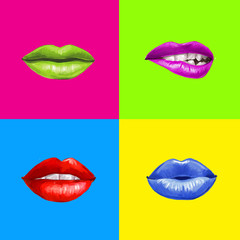 Pop art lips.Lips background.