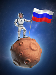 astronaut on meteor holding the Russian flag