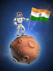 astronaut on meteor holding the India flag