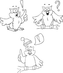 Doodle sketch of owls