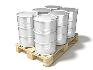 White oil barrels on wooden euro pallet