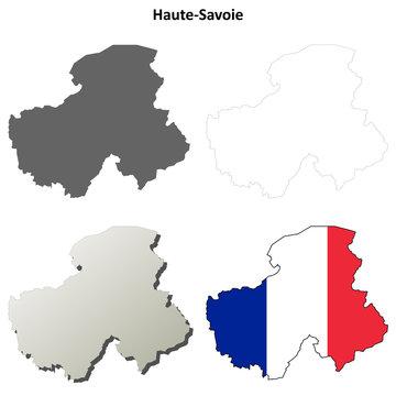 Haute-Savoie (Rhone-Alpes) outline map set
