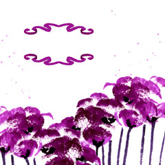 Vector background with purple watercolor poppies