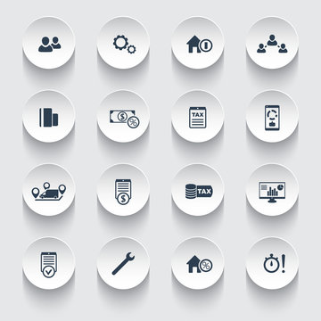 16 finance, costs, tax round modern 3d icons