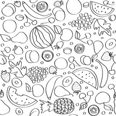 Seamless vector doodle cartoon pattern of summer fruits in lines
