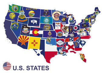 US map with flags of states