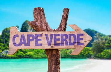 Cape Verde wooden sign with beach background