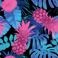tropical fruits and leaves seamless background