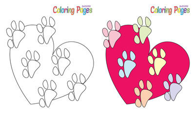 Coloring book Heart Paws