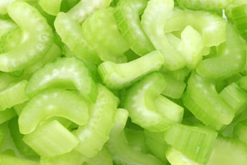 background of fresh celery pieces
