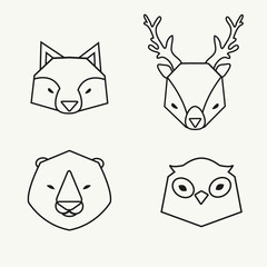 Trendy outline animals heads icons set. Owl, deer, fox and bear